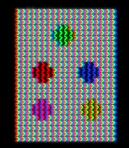 This pixel layout is found in S-IPS LCDs. A chevron shape is used to widen the viewing cone. Source : Wikipedia